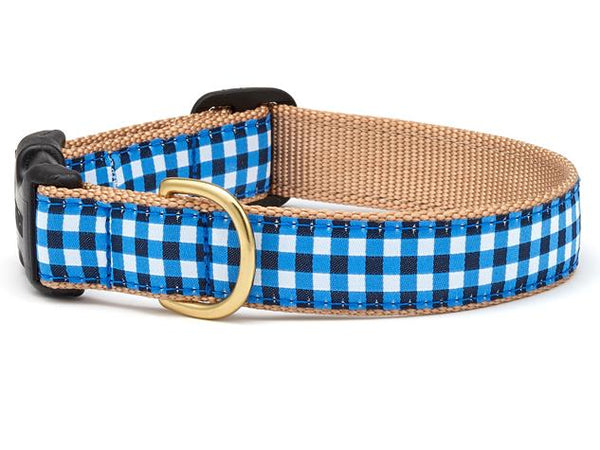 Up Country Navy Gingham Dog Collar