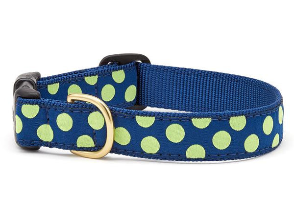 Up Country Navy Lime Dot Dog Collar