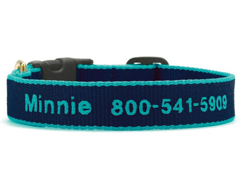 Personalized Bamboo Dog Collar - Navy/Aqua