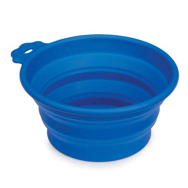 Bend-A-Bowl Silicone Travel Bowl for Pets and People - Blue