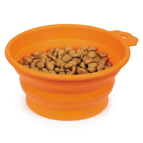 Bend-A-Bowl Silicone Travel Bowl for Pets and People - Orange