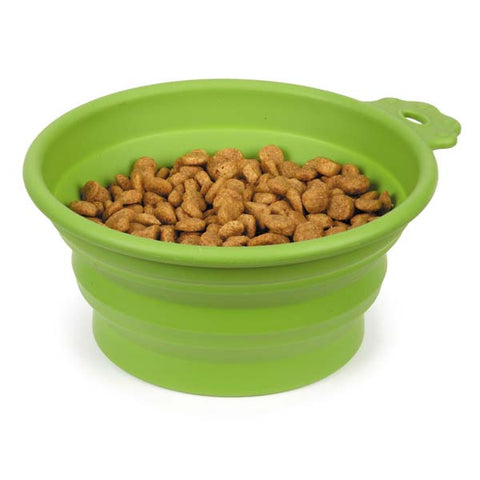 Bend-A-Bowl Silicone Travel Bowl for Pets and People - Green