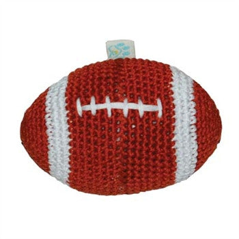 Football Crochet Dog Toy with Squeaker