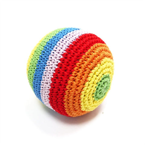 Rainbow Crochet Dog Toy with Squeaker