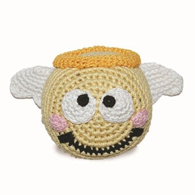 Emoticon Ball Crochet Dog Toy  with Squeaker - Angel Face
