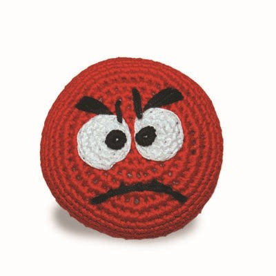 Emoticon Ball Crochet Dog Toy with Squeaker - Mad Face