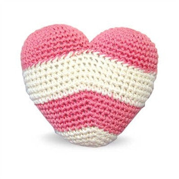 Pink Stripes Heart Crochet Dog Toy with Squeaker