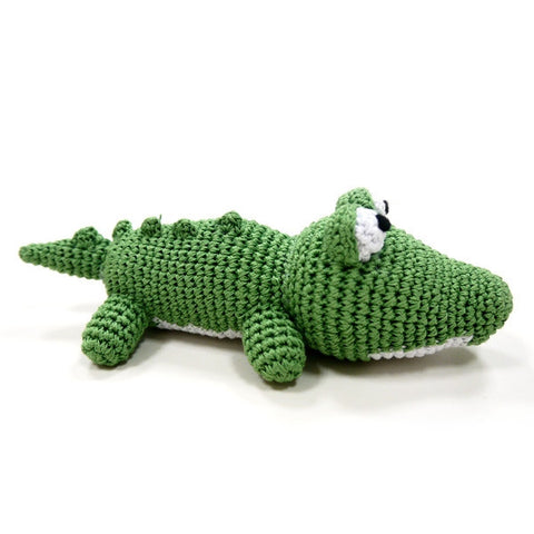 Alligator Crochet Dog Toy with Squeaker