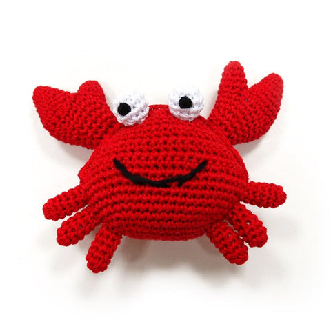Red Crab Crochet Dog Toy with Squeaker