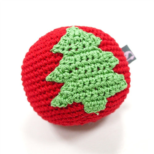 Christmas Tree Ball Crochet Dog Toy with Squeaker
