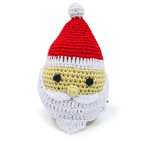 Jolly Santa Crochet Dog Toy with Squeaker