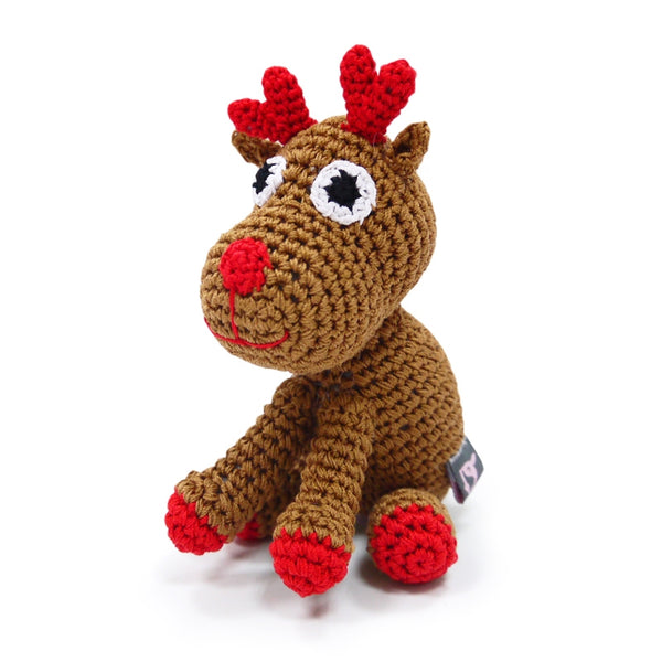 Reindeer Crochet Dog Toy with Squeaker