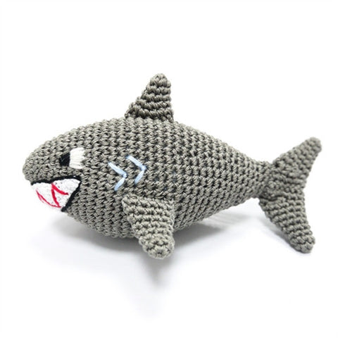Shark Crochet Dog Toy with Squeaker