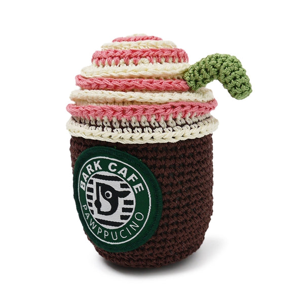 Bark Cafe Coffee Cup Crochet Dog Toy with Squeaker