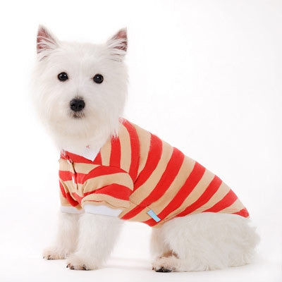 Classic Stripe Dog Polo Shirt - Red/Tan