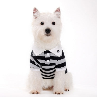 Classic Stripe Dog Polo Shirt - Black/Gray