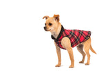 Duluth Double Fleece Pullover Dog Sweater - Red Plaid/Black