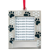 Custom Engraved Holiday Paw & Snowflake Photo Frame Ornament