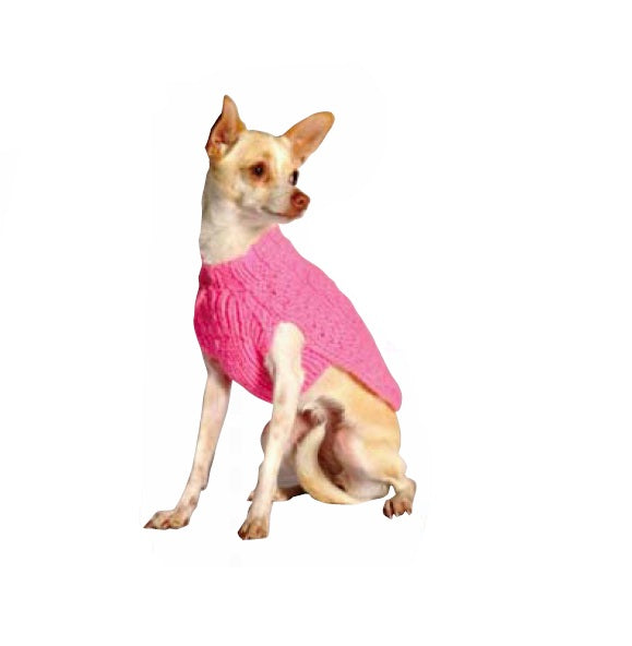 Pink Cable Knit Wool Dog Sweater - Extra Small