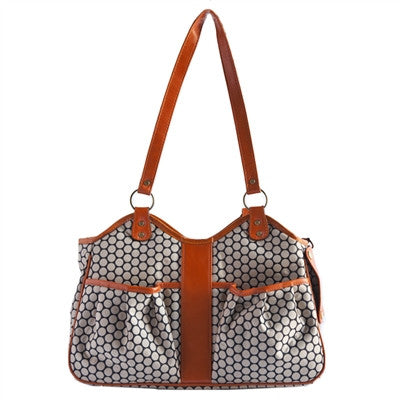 Petote Metro Couture Dog Carrier - Tangerine with Leather Trim