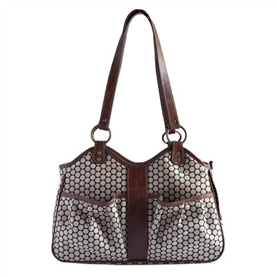 Petote Metro Couture Dog Carrier - Toffee with Leather Trim