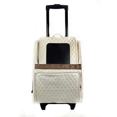 Petote Quilted Luxe Rio Bag On Wheels - Ivory
