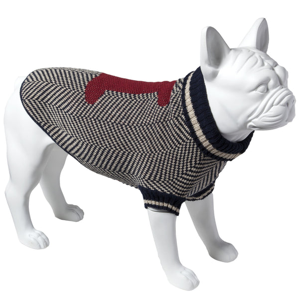 Eco Pet Recycled Cotton Dog Sweater - Navy with Red Bone