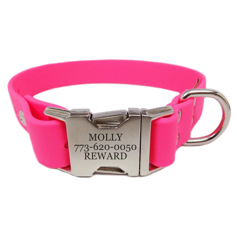 Rita Bean Waterproof Engraved Buckle Dog Collar - Pink