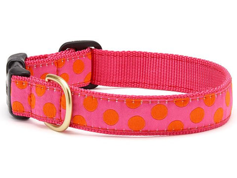 Up Country Pink Orange Dot Dog Collar