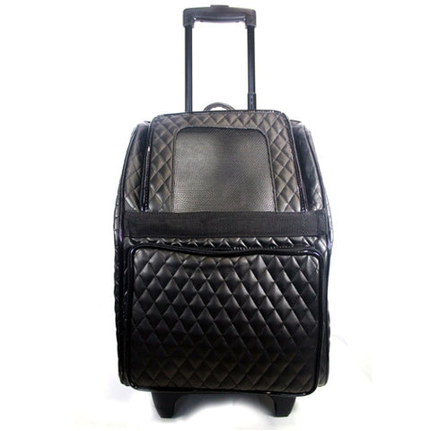 Petote Quilted Luxe Rio Bag On Wheels - Black