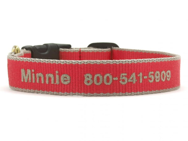 Personalized Bamboo Dog Collar - Red/Gray