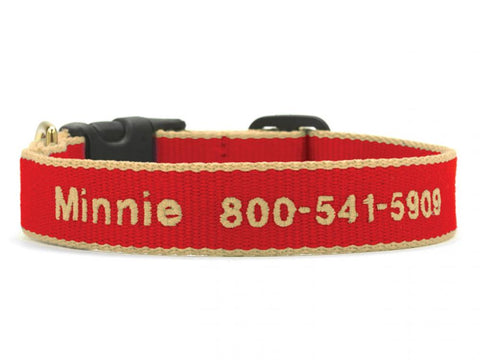 Personalized Bamboo Dog Collar - Red/Tan
