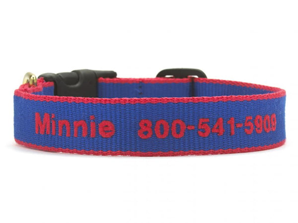 Personalized Bamboo Dog Collar - Royal Blue/Red