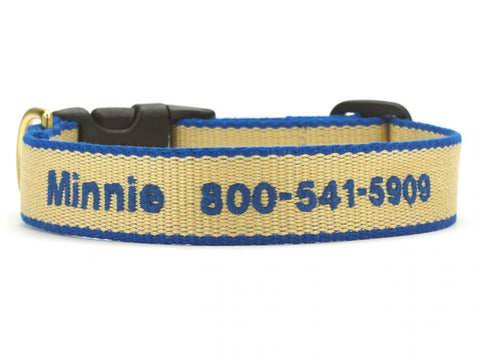 Personalized Bamboo Dog Collar - Tan/Royal Blue