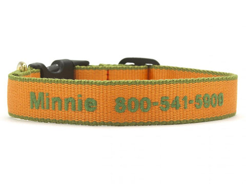 Personalized Bamboo Dog Collar - Tangerine/Pine Green