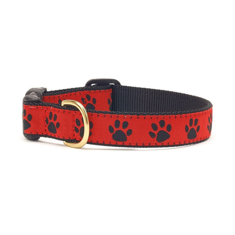 Up Country Red & Black Paws Dog Collar