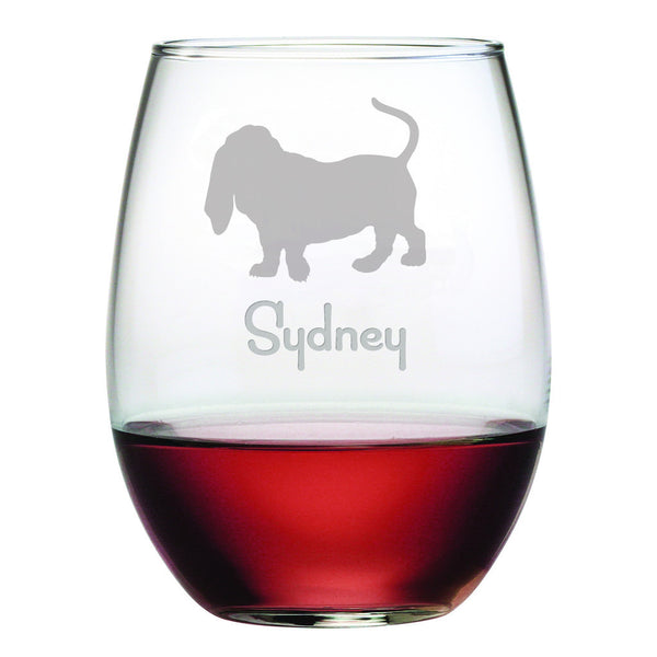 Personalized Dog Breed Stemless Wine Glasses (Set Of Four) - Basset Hound