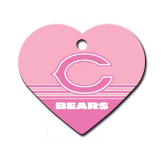 Chicago Bears NFL Custom Engraved Dog ID Tag - Pink Heart