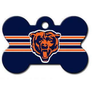 Chicago Bears NFL Custom Engraved Dog ID Tag - Bone