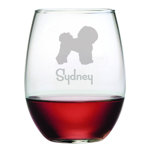 Personalized Dog Breed Stemless Wine Glasses (Set Of Four) - Bichon Frise