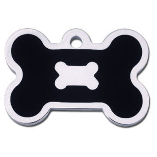 Bone Shaped Epoxy Filled Chrome Dog Tag - Black (Large)