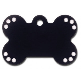 Black Bone Shaped Dog Tag With Clear Stones - Anodized Aluminum (Double Side Engraving)