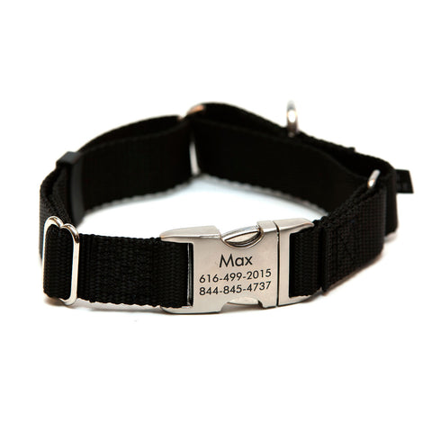 Rita Bean Engraved Buckle Personalized Martingale Style Dog Collar - Nylon Webbing (Black)