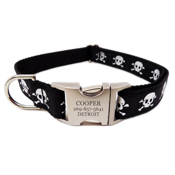 Rita Bean Engraved Buckle Personalized Dog Collar - Reflective Black Skulls