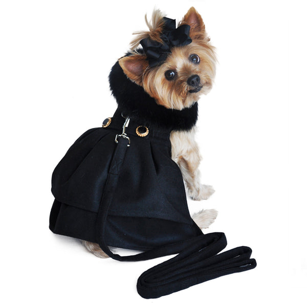 Doggie Design Black Wool with Black Fur Trim Dog Coat and Matching Leash