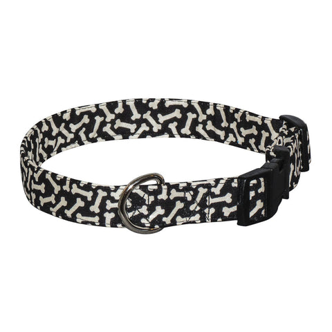 Elmo's Closet Black Bones Dog Collar