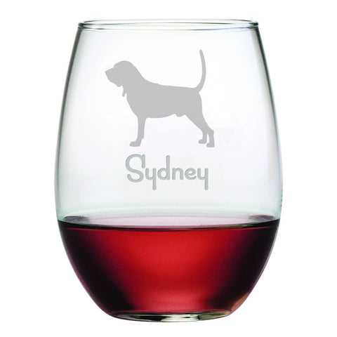 Personalized Dog Breed Stemless Wine Glasses (Set Of Four) - Bloodhound