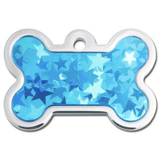 Blue Hologram Plated & Polished Raised Edge Dog Tag - Bone