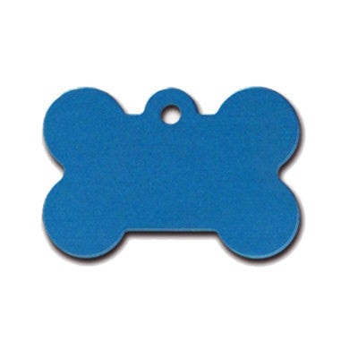Bone Shaped Dog ID Tag - Blue Anodized Aluminum (Double Side Engraving)
