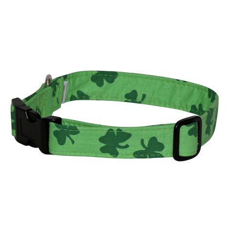 Elmo's Closet Bold Shamrocks Light Green Dog Collar
